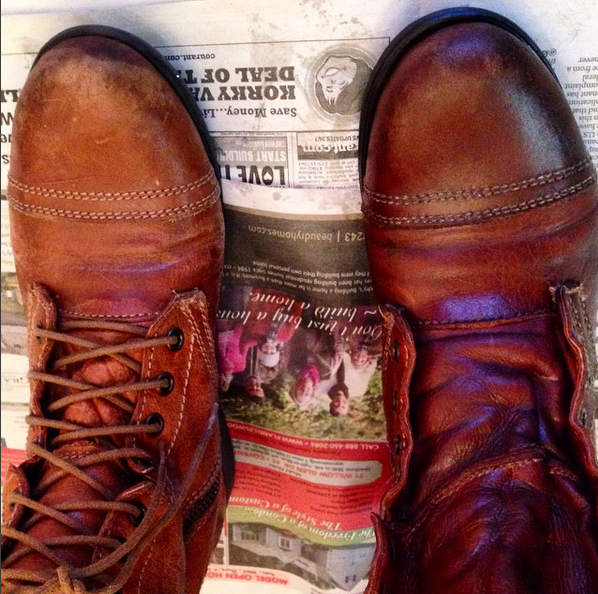 My real leather boots have lasted me since college and it's a real shame to see them looking so old -- and hole-y.