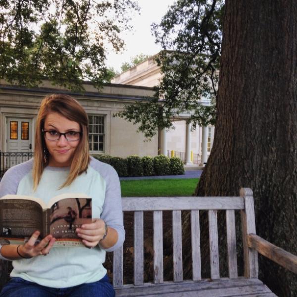 Sara gets studious in eastern bluebird fade Wilkie frames.