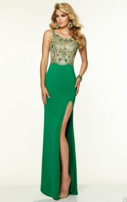 beaded floor-length prom dress