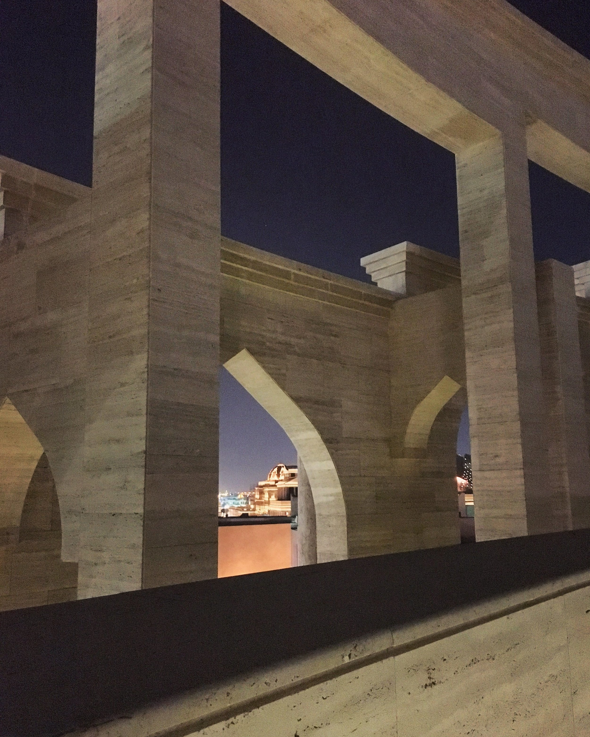 View in the amphitheater at night in Katara Cultural Village.
