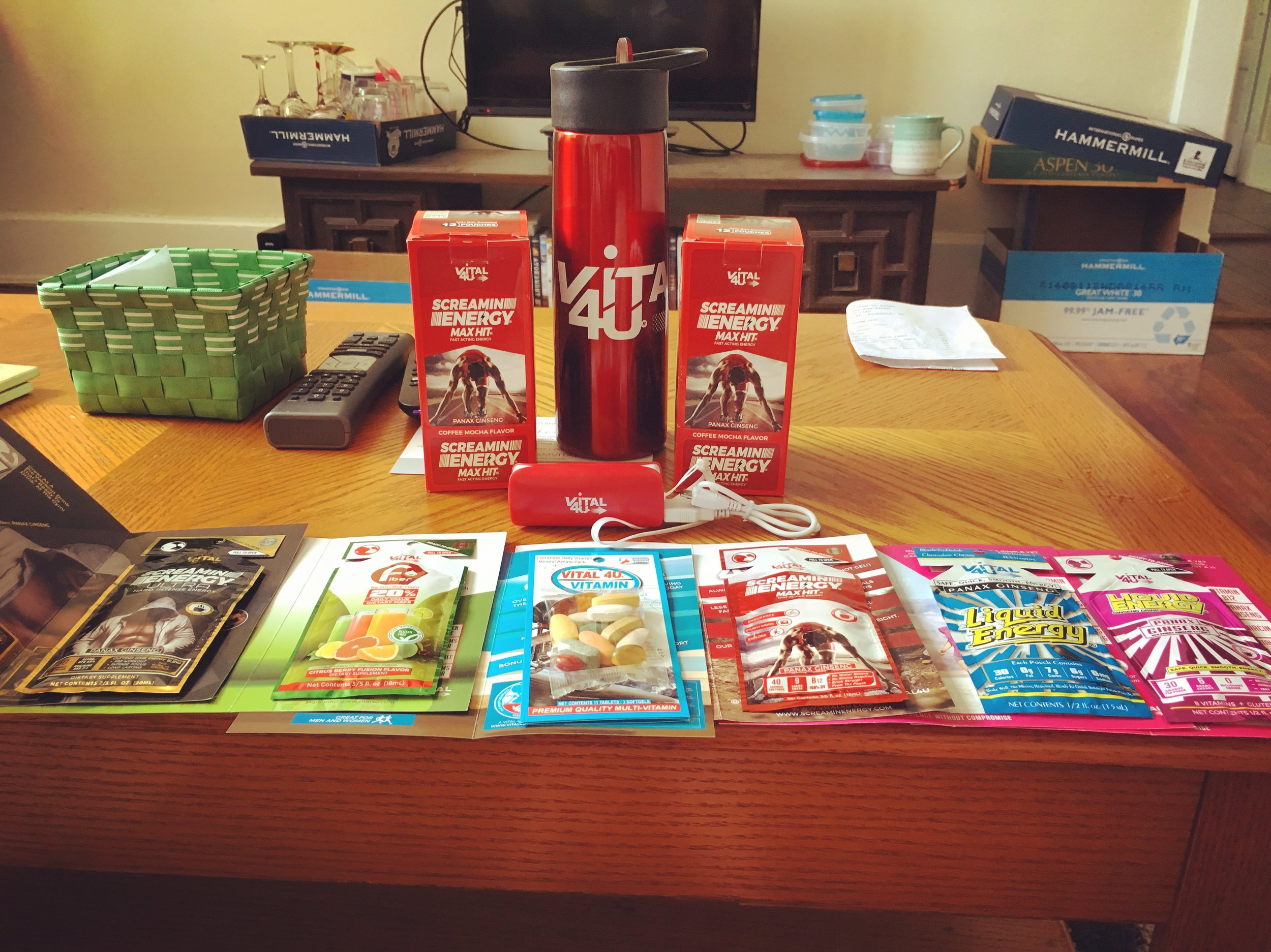 Vital4U's Screamin Energy Ultra, Fiber Packet, Vitamins, Max Hit (!!), and Liquid Energy Drinks. Can we get a heck yeah?