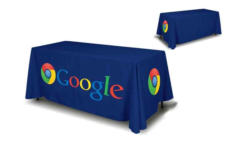 - Our standard 3 & 4 sided table cover is a great table topper for trade shows, exhibitions, and any presentations. Our table covers are dye sublimated and are 100% washable. This table cover is made of 8.8 oz. polyester table fabric with rounded corners and hangs approximately 2