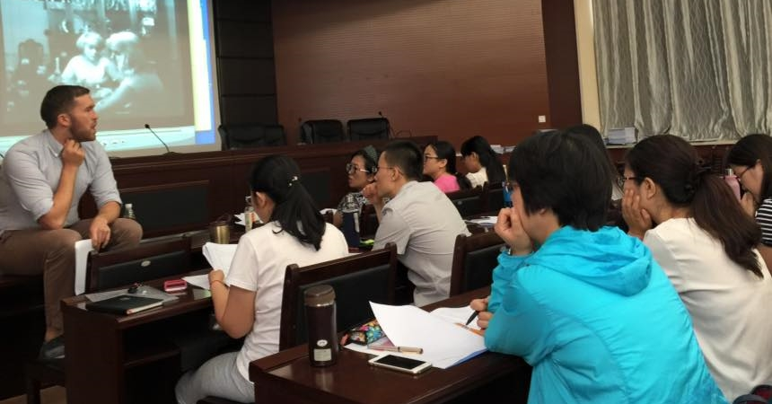 Leading a workshop for faculty and graduate students at Shanxi University, China. Summer, 2015.