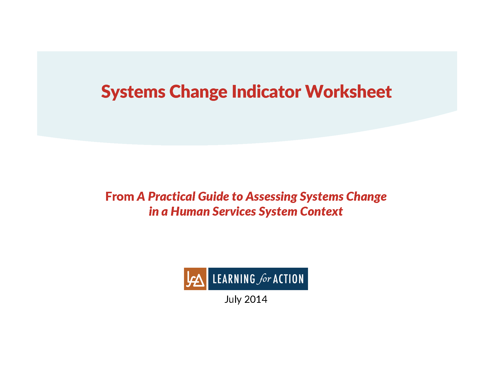 A Systems Change Indicator Worksheet