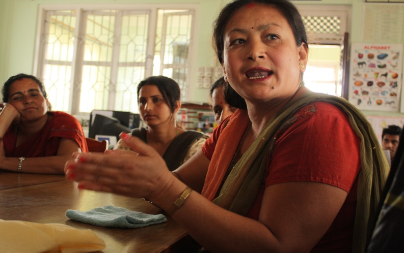A focus group in Nepal of women participating in READ (Rural Education and Development) Global's Community Library and Resource Center program explaining to LFA what economic empowerment and security means to them.