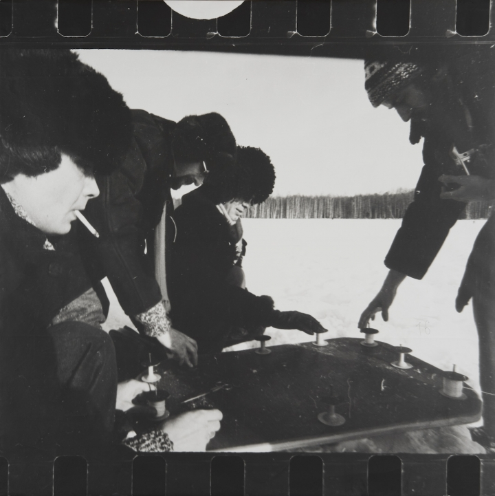 "COLLECTIVE ACTIONS, ""ACTION 16: TEN APPEARANCES,"" FEBRUARY 1, 1981, SIX GELATIN SILVER PRINTS ON PAPER MOUNTED ON CARDBOARD; EACH: 38 1⁄16 X 38 1/4 IN. (PHOTO BY PETER JACOBS, IMAGE COURTESY ZIMMERLI ART MUSEUM AT RUTGERS)"