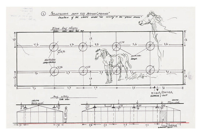 Sketches-floor-plan-and-sections-and-horse-studies-not-dated-felt-pen-ball-point-pen-and-colored-pen.jpg