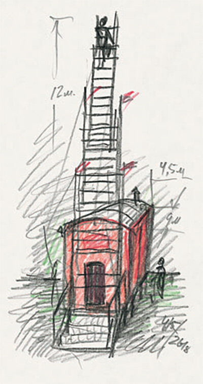 Sketch-for-the-installation-The-Red-Wagon-1991-colored-pencil-pencil-35-x-18-cm.jpg
