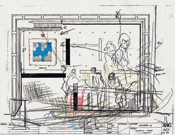 Floor-plan-sketch-not-dated-watercolor-and-chalk-on-photocopied-sketch-279-x-216-cm.jpg