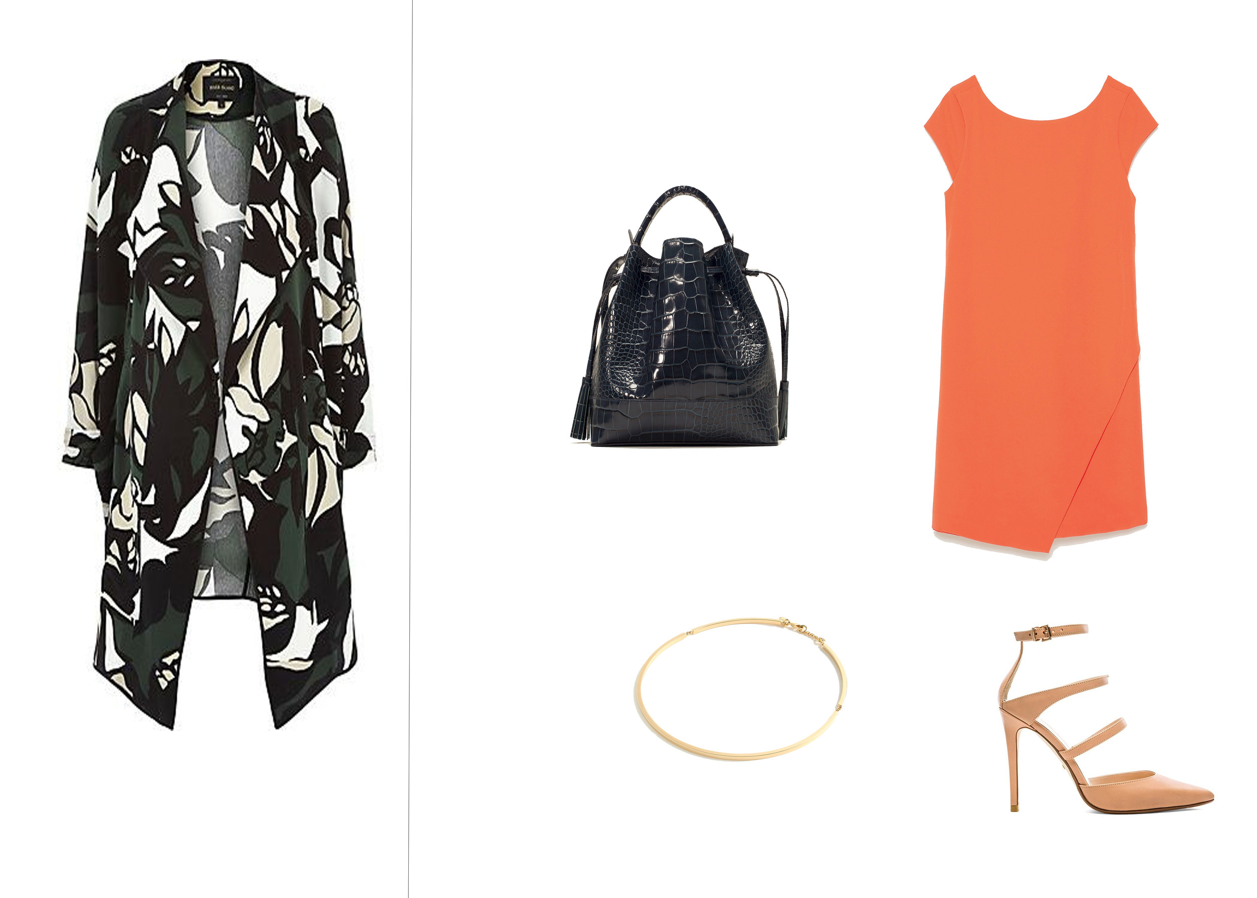 We've paired our {look for less} here with an orange  Zara  dress for a pop of color and  this simple-yet-sexy nude pump. We love this look with simple gold accessories like the gold choker  here + this  navy crocodile bucket bag! This look is a perfect and easy desk-to-dinner look with a little edge!
