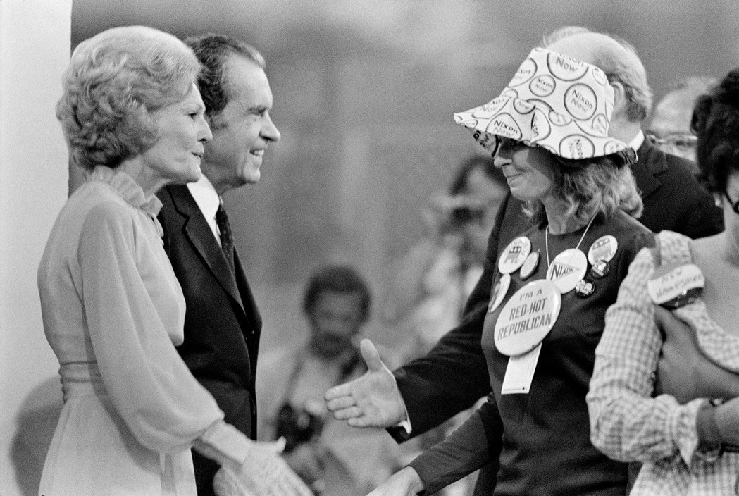 Richard and Pat Nixon greeting delegates after he accepted his party's nomination for a second term. Photographed by Abbas/Magnum.