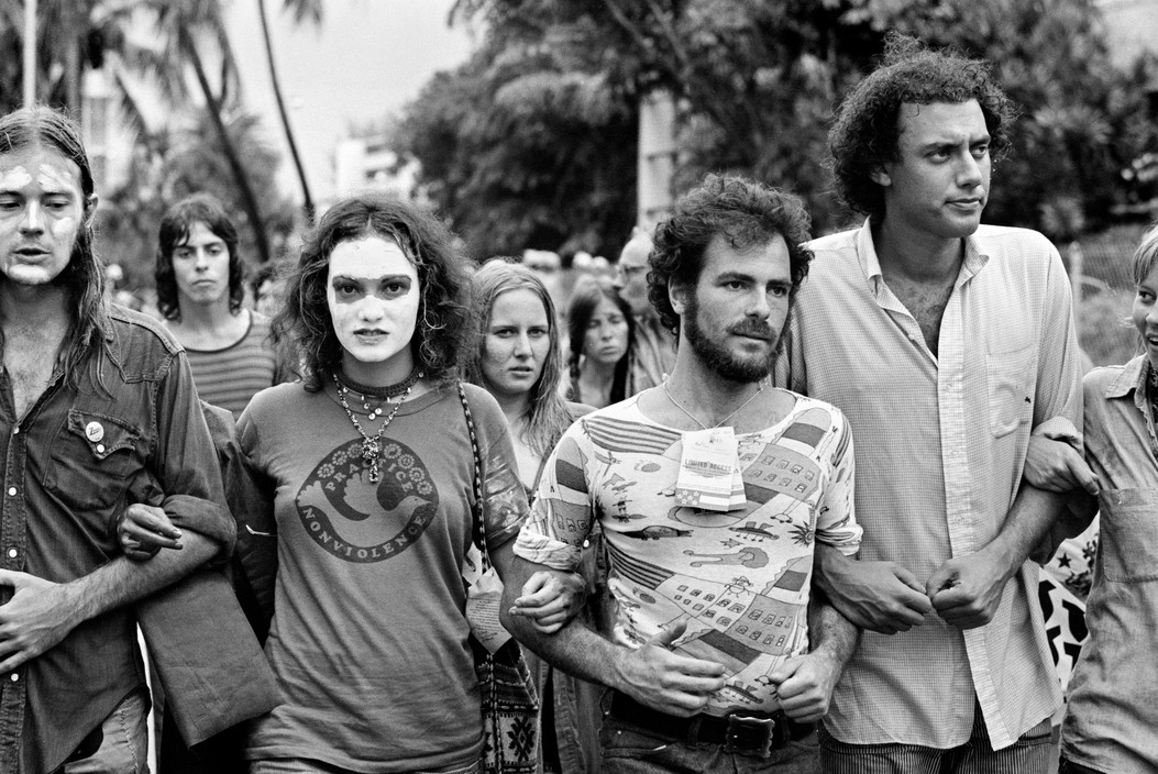 Activist Jerry Rubin marching at an anti Vietnam war rally. Photographed by Abbas/Magnum.