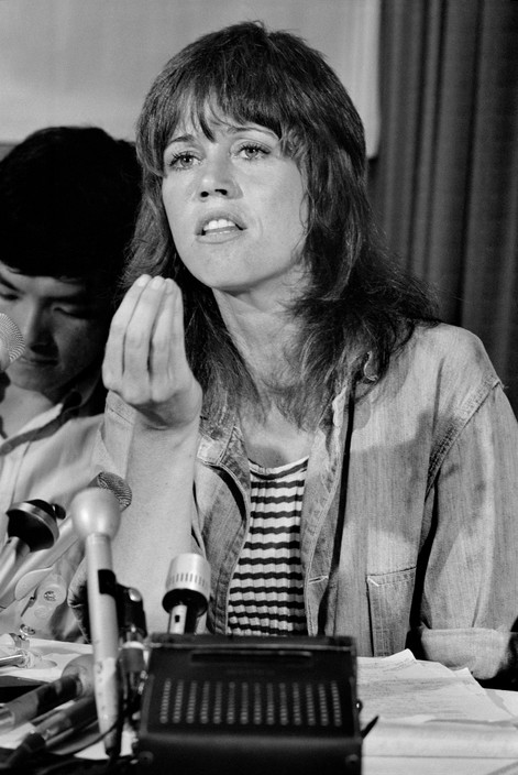 Jane Fonda, a militant anti-war activist, addressing a press conference. Photographed by Abbas/Magnum.