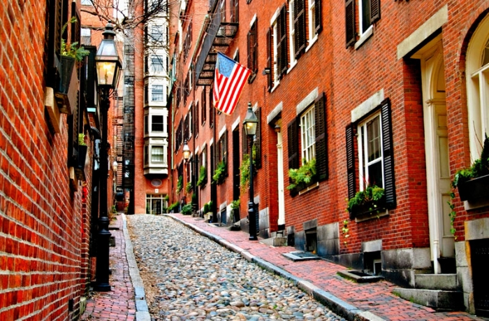 STREETS OF BEACON HILL IN BOSTON, MASS.