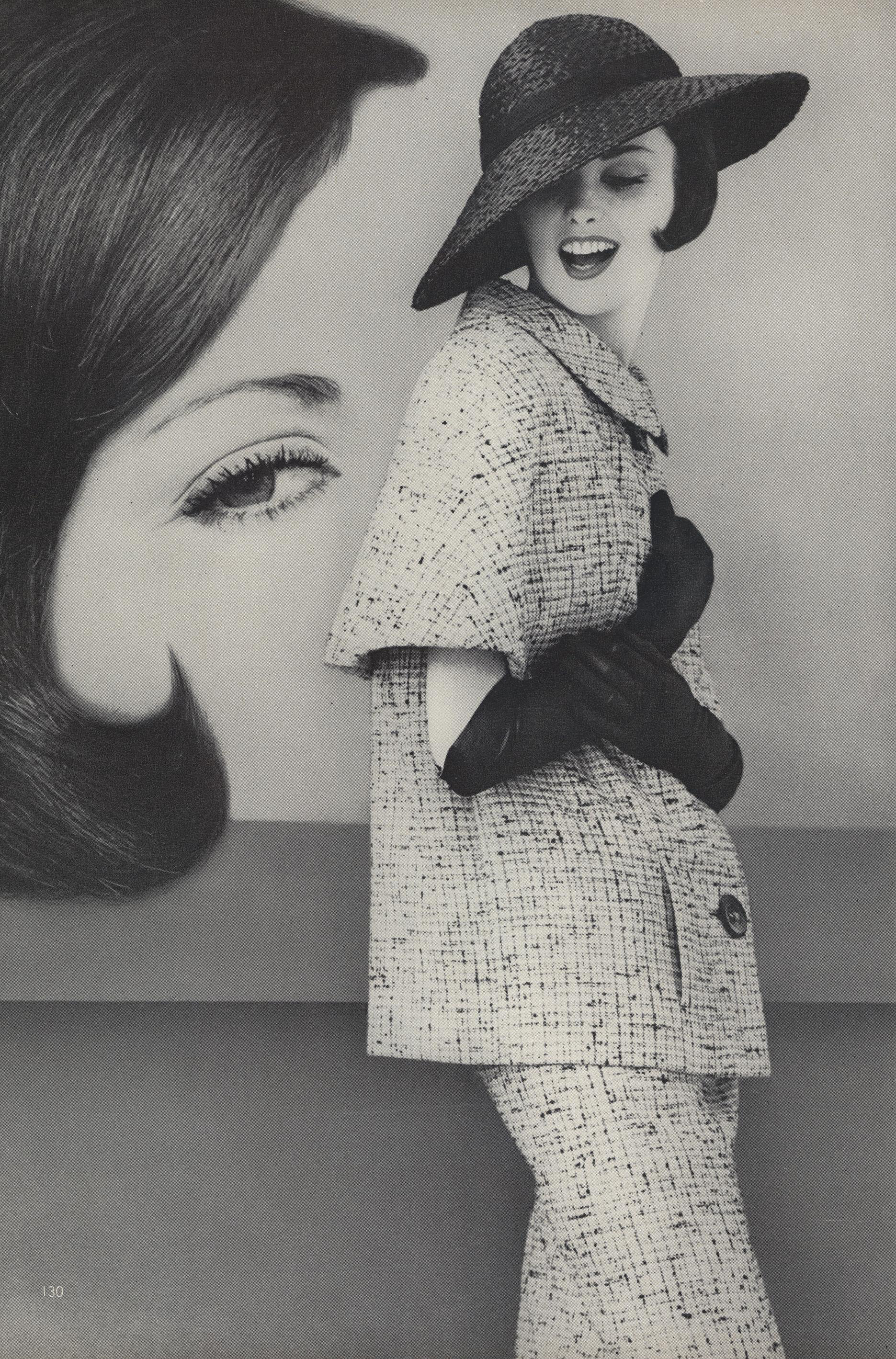 Known for his immaculate suiting, this tweed one features a long, loose jacket with short cone-like sleeves and a soft, sleeveless dress. The hat is also by Galanos. Photographed by Leombruno-Bodi for Vogue, March 1960.