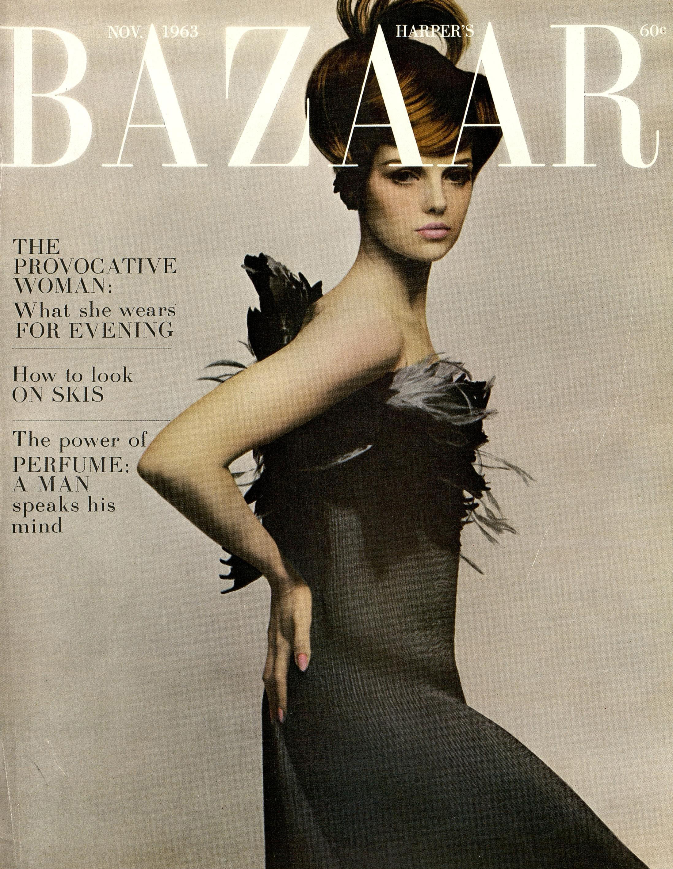 A feather-trimmed evening column for the cover of Harper's Bazaar, November 1963—photographed by Melvin Sokolsky.