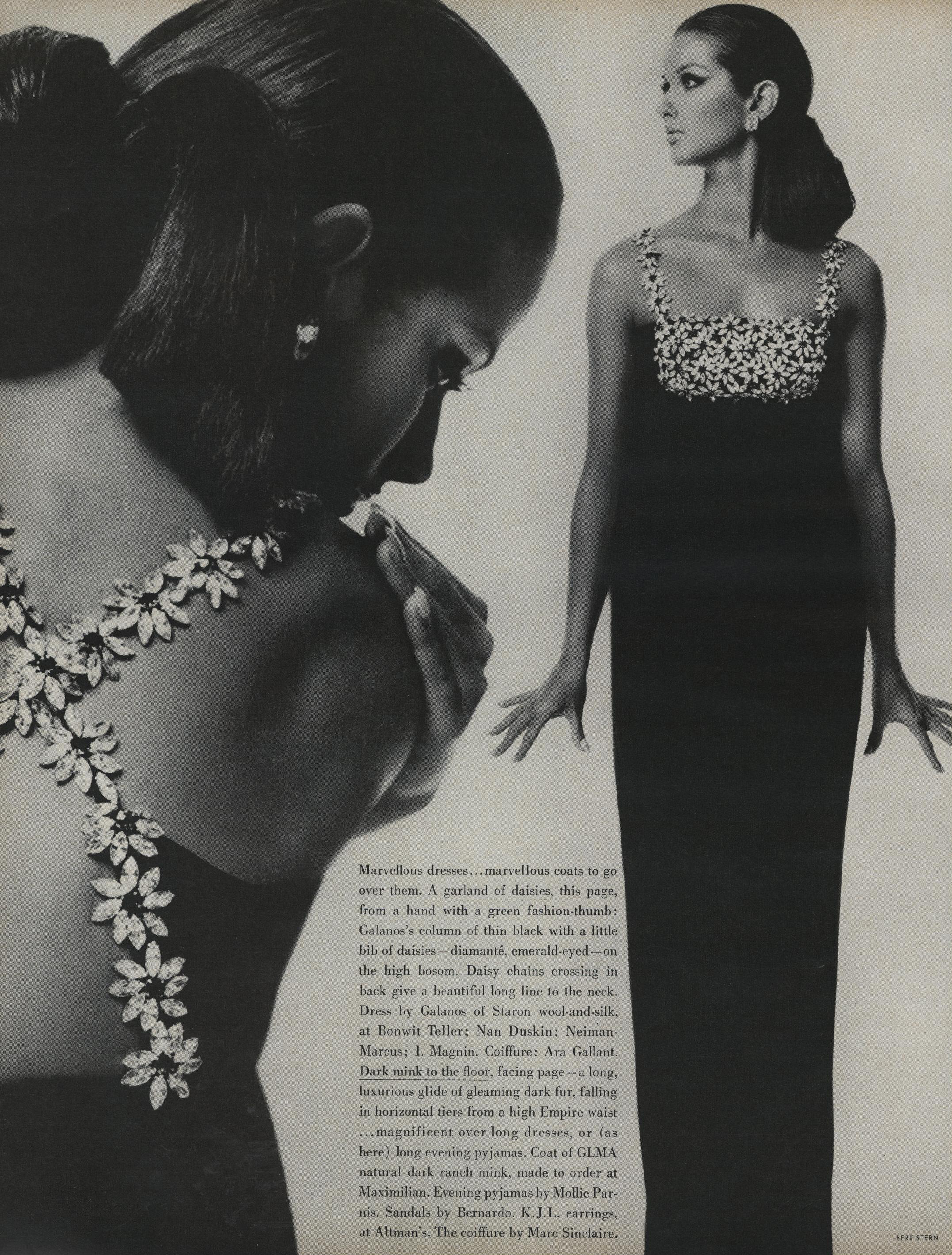 A black wool-and-silk column with a big of emerald-eyed, diamanté   daisies. Photographed by Bert Stern for  Vogue , September 15, 1966.