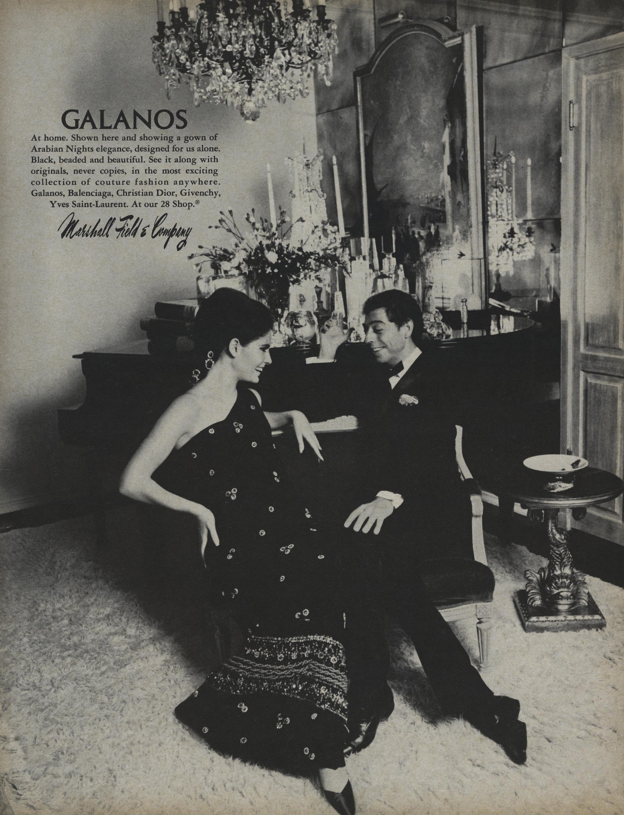 James Galanos staring in a Marshall Field & Company ad for November 1966, alongside a model in one of his beaded, black evening dresses.