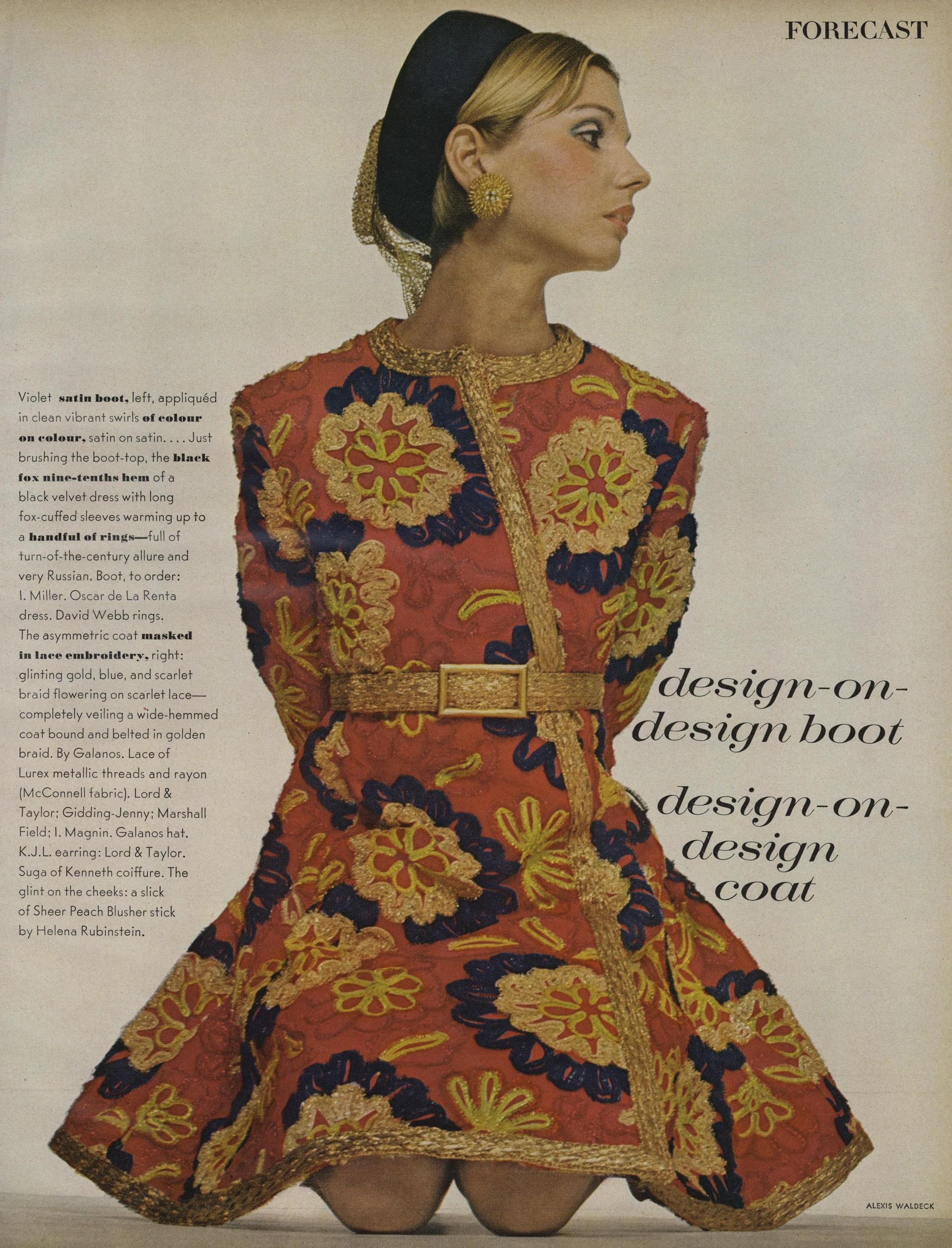 """An asymmetric coatdress of """"glinting gold, blue, and scarlet braid flowering on scarlet lace"""" with a high belt and flared hem. Photographed by Alexis Waldeck for  Vogue , July 1968."""