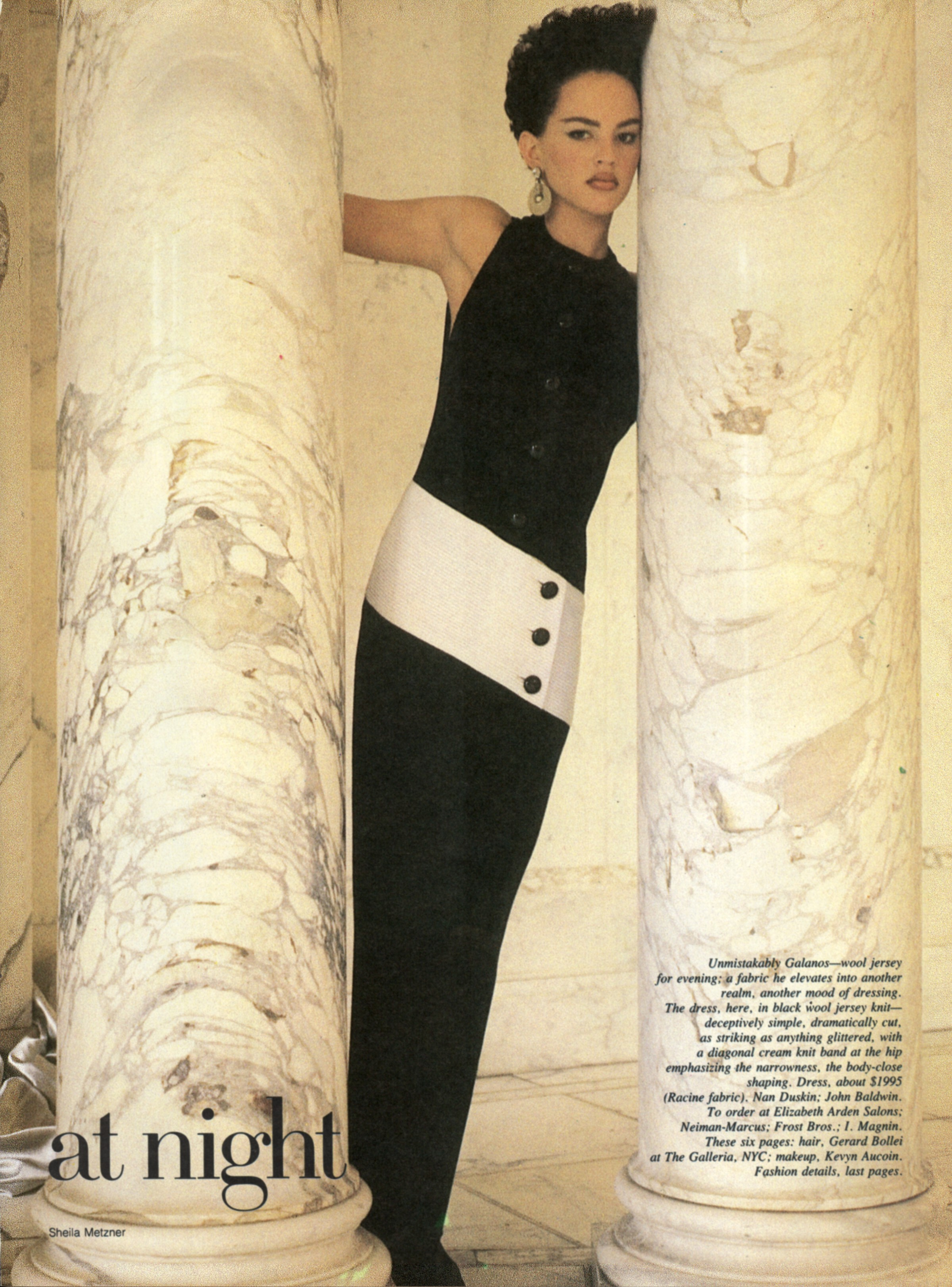 """A column of wool jersey, """"a fabric he elevates into another realm, another mood of dressing."""" Photographed by Sheila Metzner for  Vogue , June 1985."""