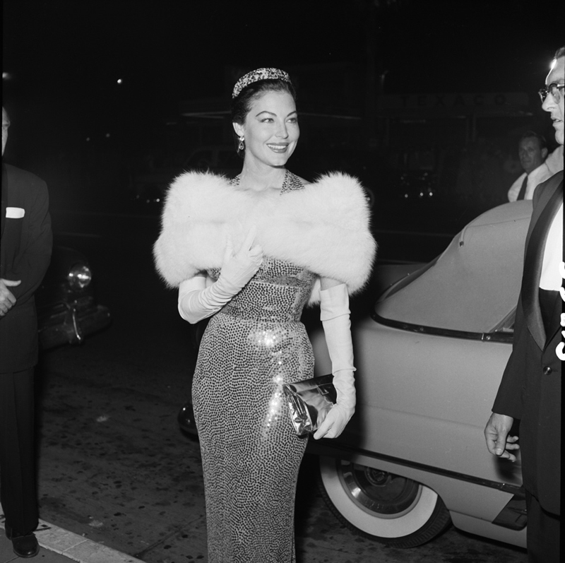 Ava Gardner also wore a Norman Norell sequin 'Mermaid' dress to a premiere in 1954.
