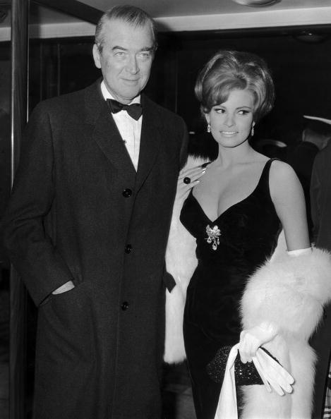 The combination of black with a large jeweled brooch is equally fantastic on Raquel Welch while attending the premiere of  The Flight Of The Phoenix  with James Stewart in London on January 20, 1966.