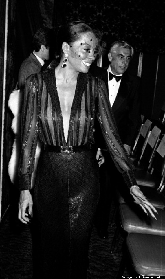 With a fully beaded dress and a veil over her face, Diana Ross attends the Motion Picture Pioneer of the Year Awards dinner honoring Dr. Jules Stein at the Waldorf Astoria Hotel in 1978.