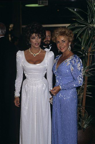 Joan Collins and Elizabeth Taylor were a symphony of sparkling beadwork at the premiere of  Comfort & Joy  in 1984.