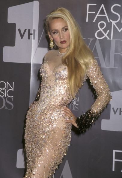 Bow down to Jerry Hall in Thierry Muglar at the 1st Annual VH1 Fashion and Music Awards at New York State Armory on December 3, 1995.
