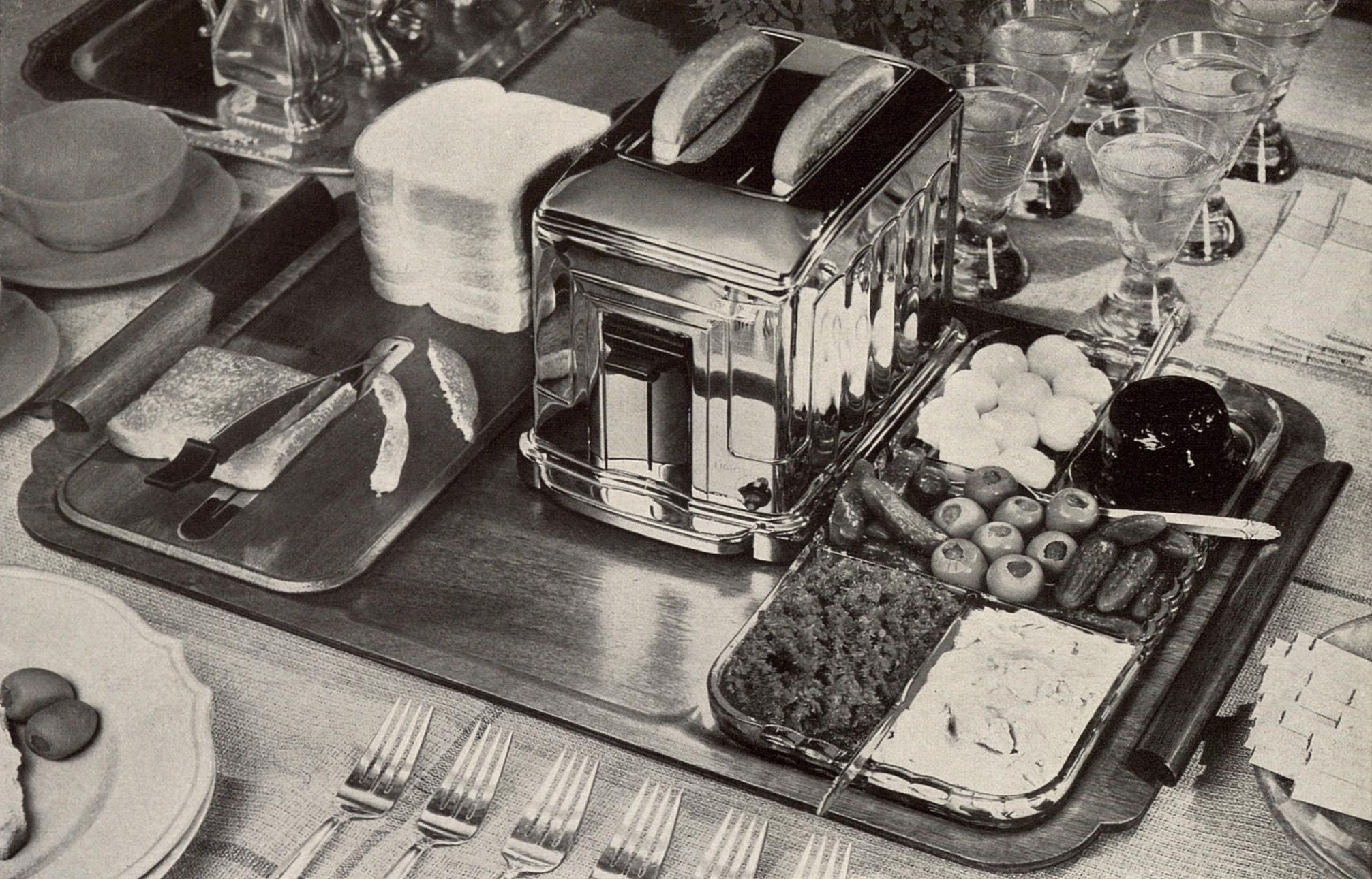 The 1935 toastmaster and hospitality tray by Waters-Genter.