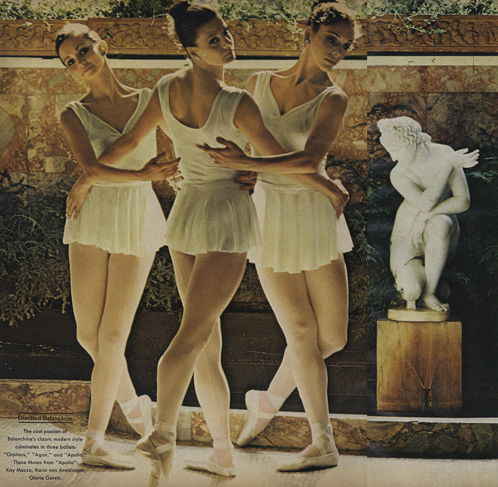 From Michals' portfolio of images from the New York City Ballet in Saratoga Springs, for Vogue, December 1972.