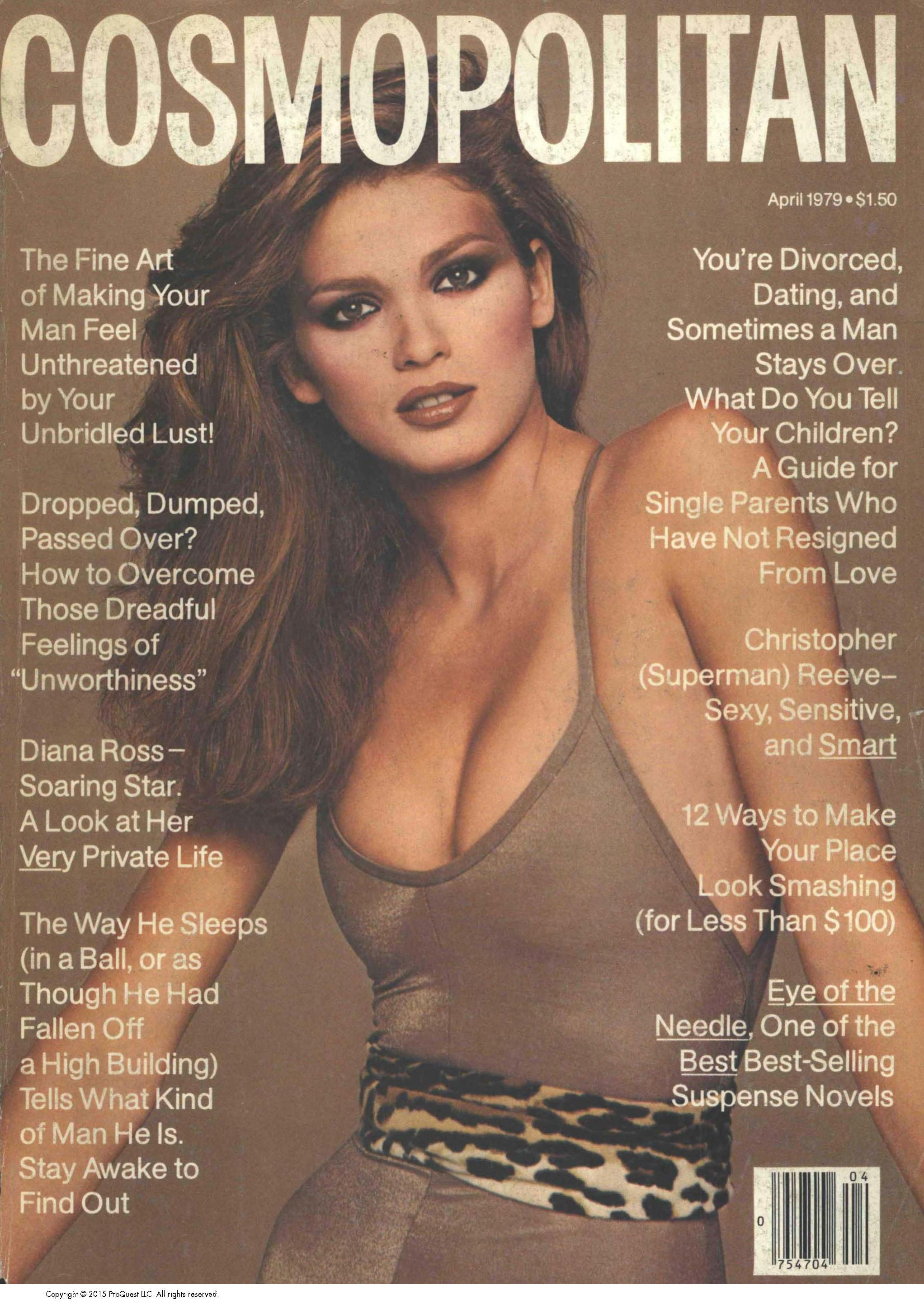 Gia Carangi in a Kamali unitard on the cover of Cosmopolitan, April 1979.