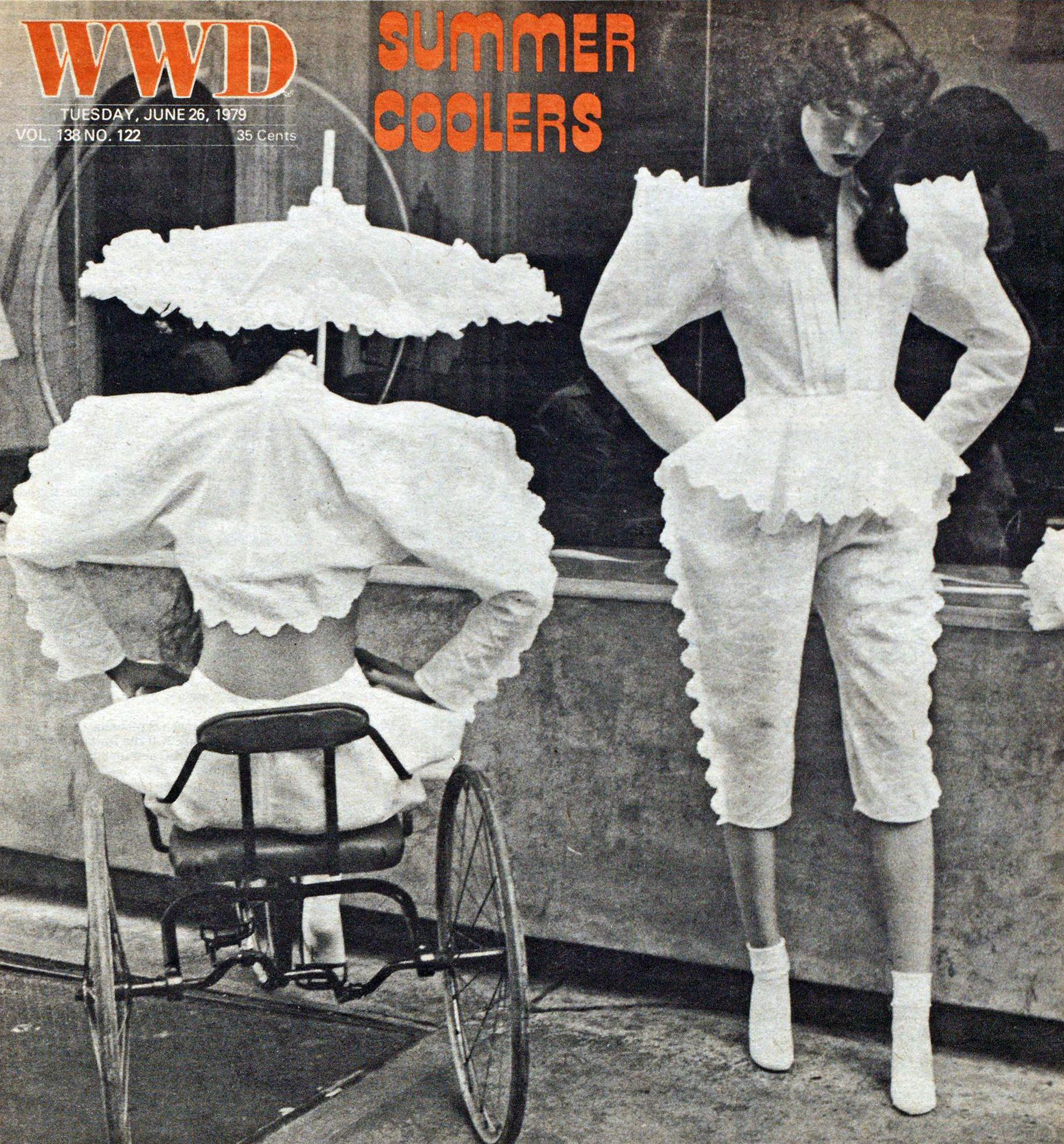 Norma Kamali's white cotton eyelet jacket and knickers. WWD, June 26, 1979.