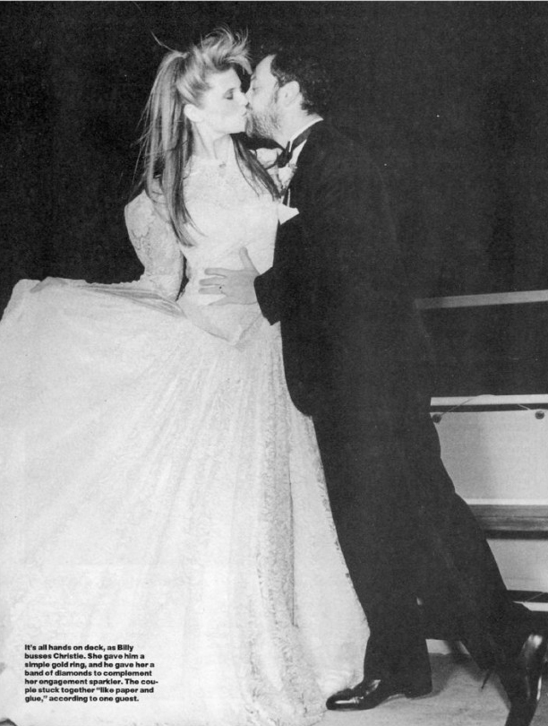 Christie Brinkley wearing a custom Norma Kamali wedding dress when she married Billy Joel in 1985.