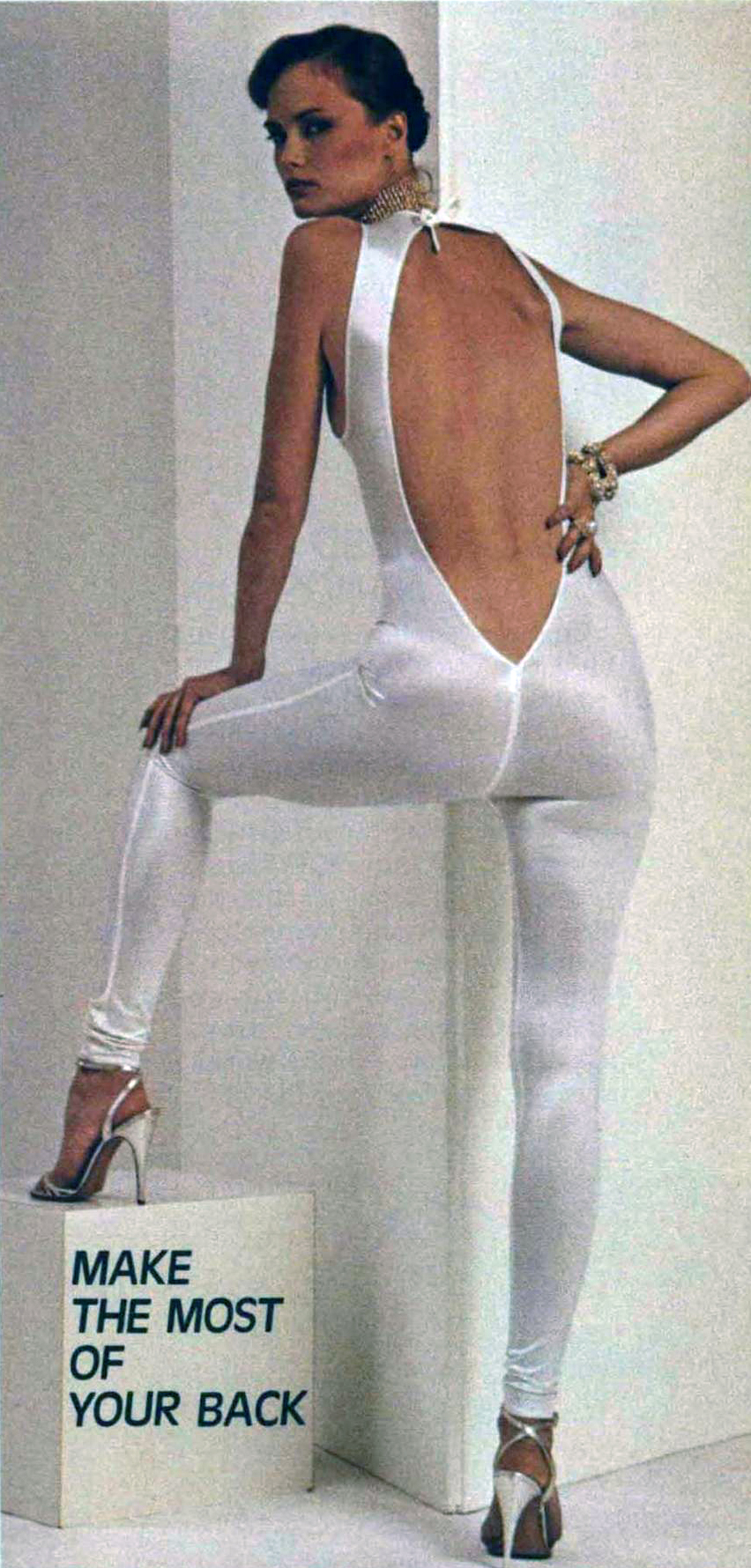 A Kamali unitard in Cosmopolitan, March 1979.