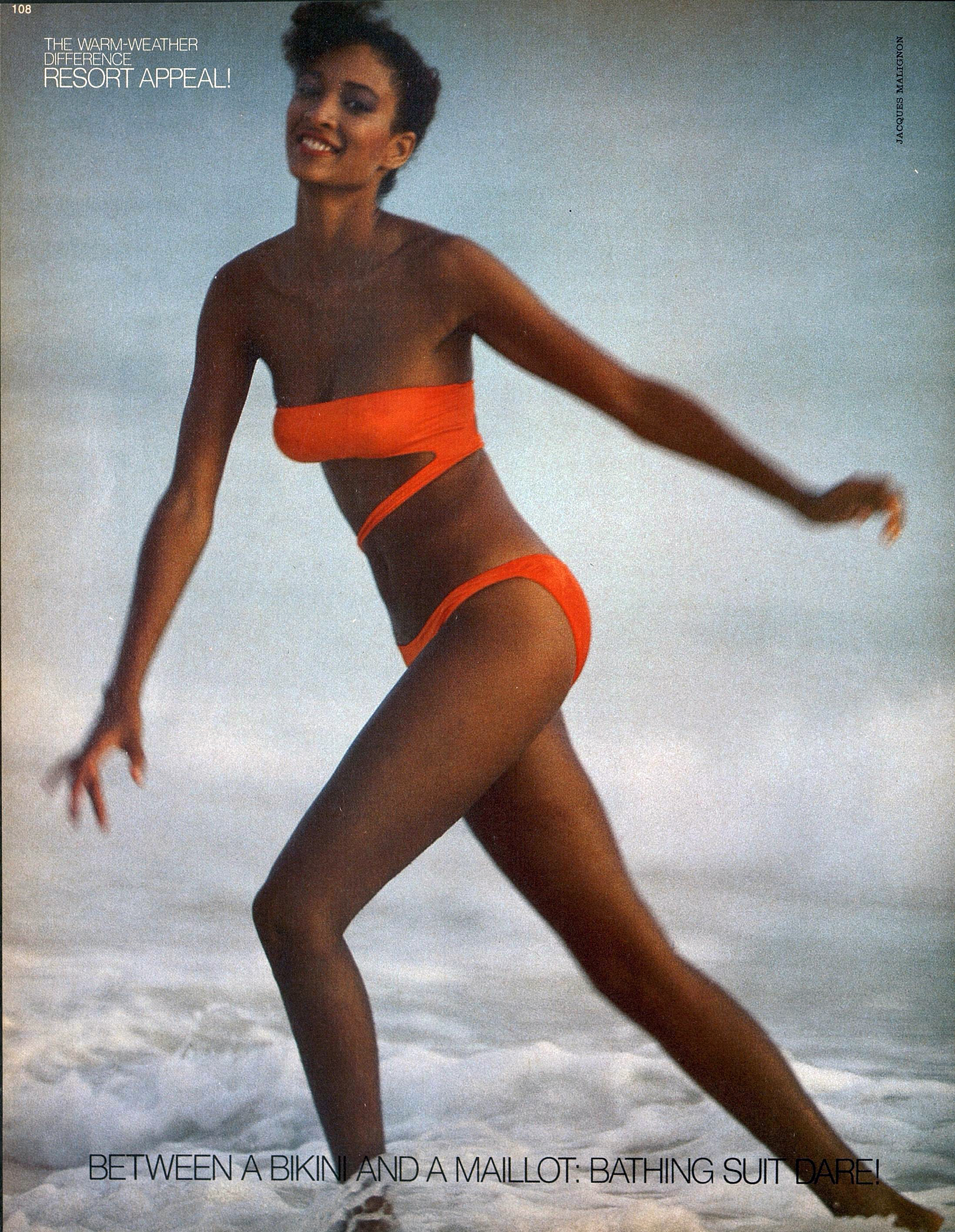Peggy Dillard in a barely there OMO suit. Photo by Jacques Malignon for Harper's Bazaar, January 1980.