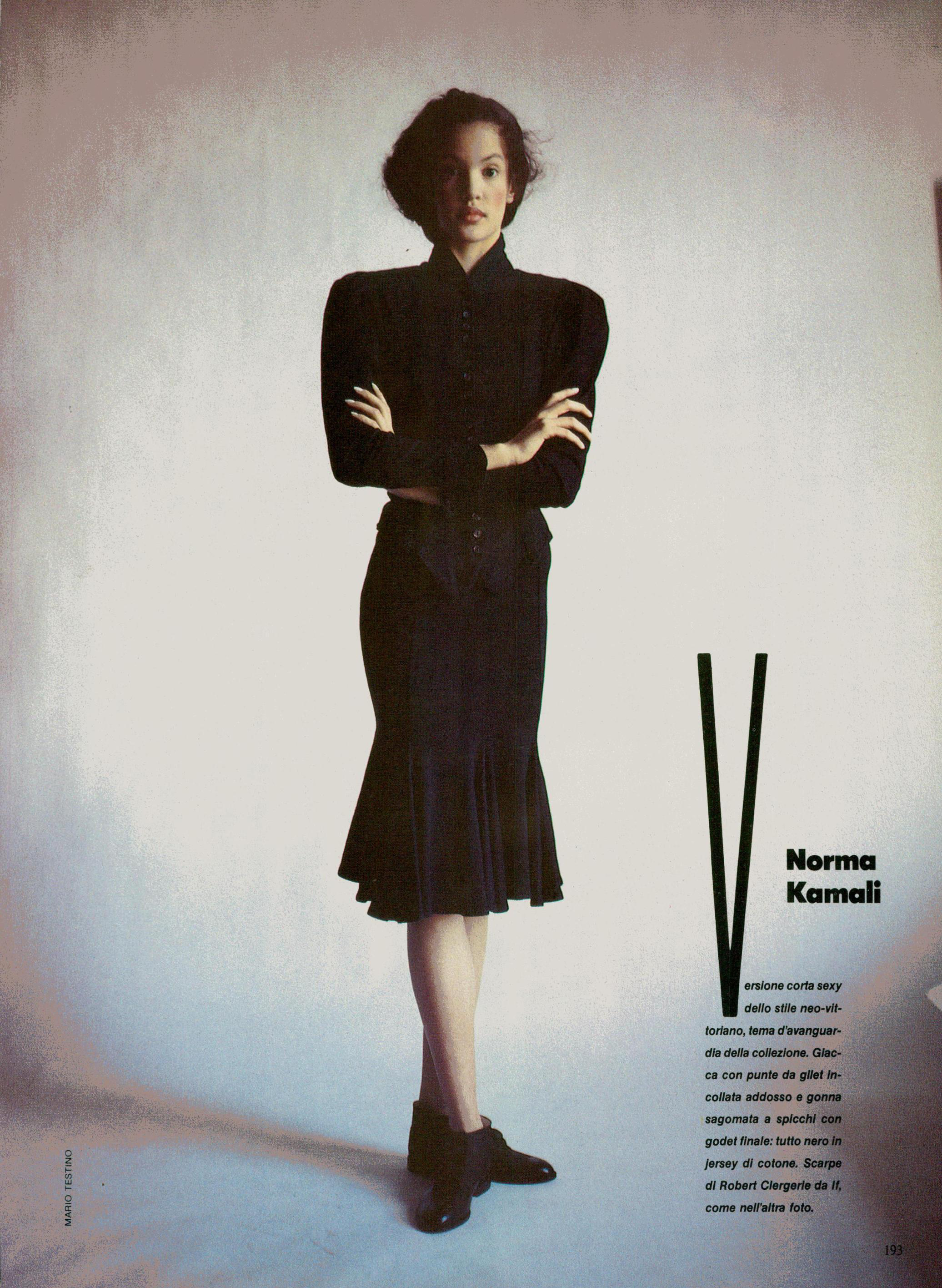 Claudia Mason in a Kamali suit. Photo by Mario Testing for Vogue Italia, February 1986.