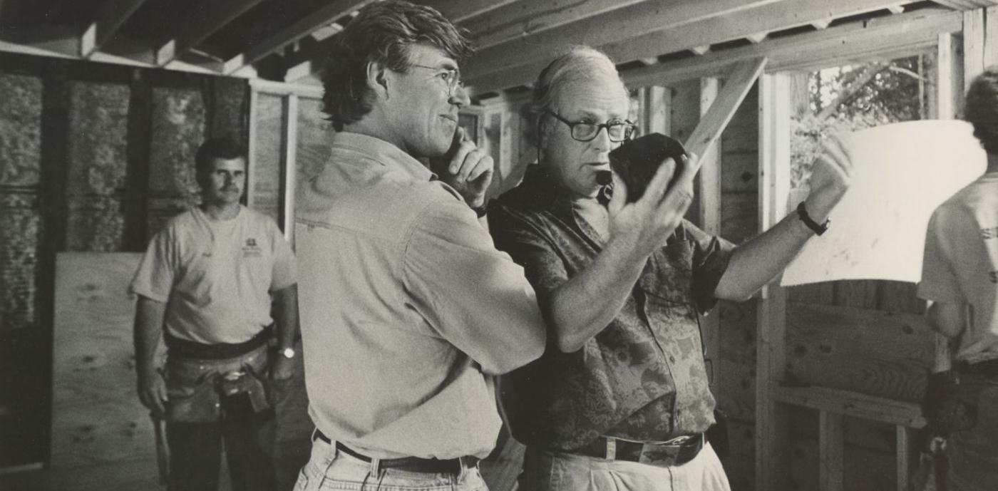 "Russell (right) directing an episode of ""This Old House."""