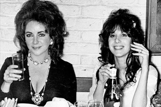 Elizabeth Taylor and Vicky Tiel at Vicky's wedding reception, 1971.