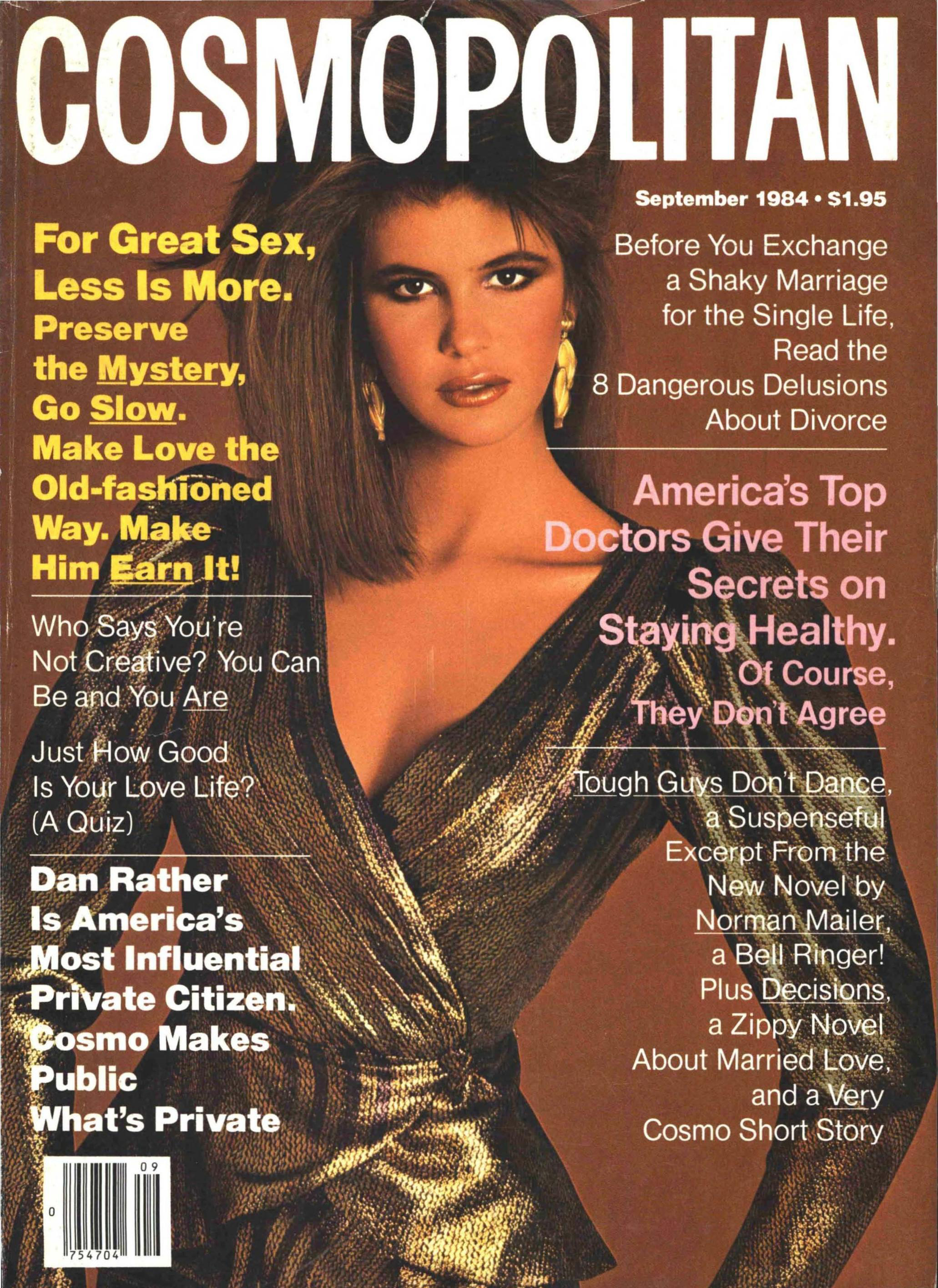 Elle Macpherson in major gold lamé on the cover of Cosmopolitan, September 1984; photo by Francesco Scavullo.