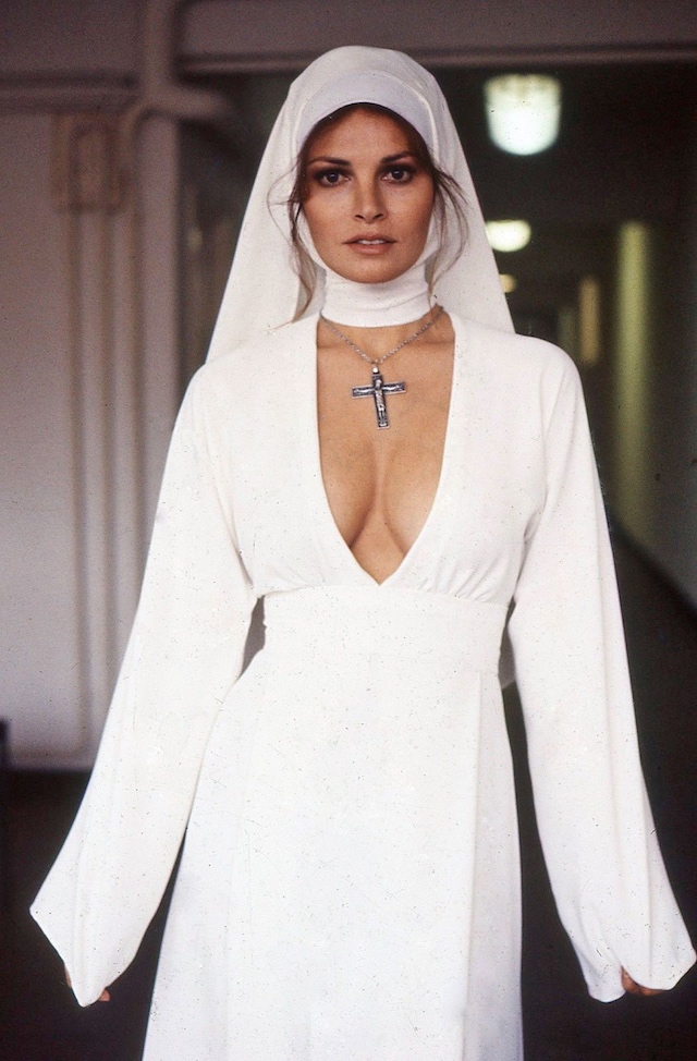 "Raquel Welch in a costume designed by Tiel for ""Bluebeard"", 1972."