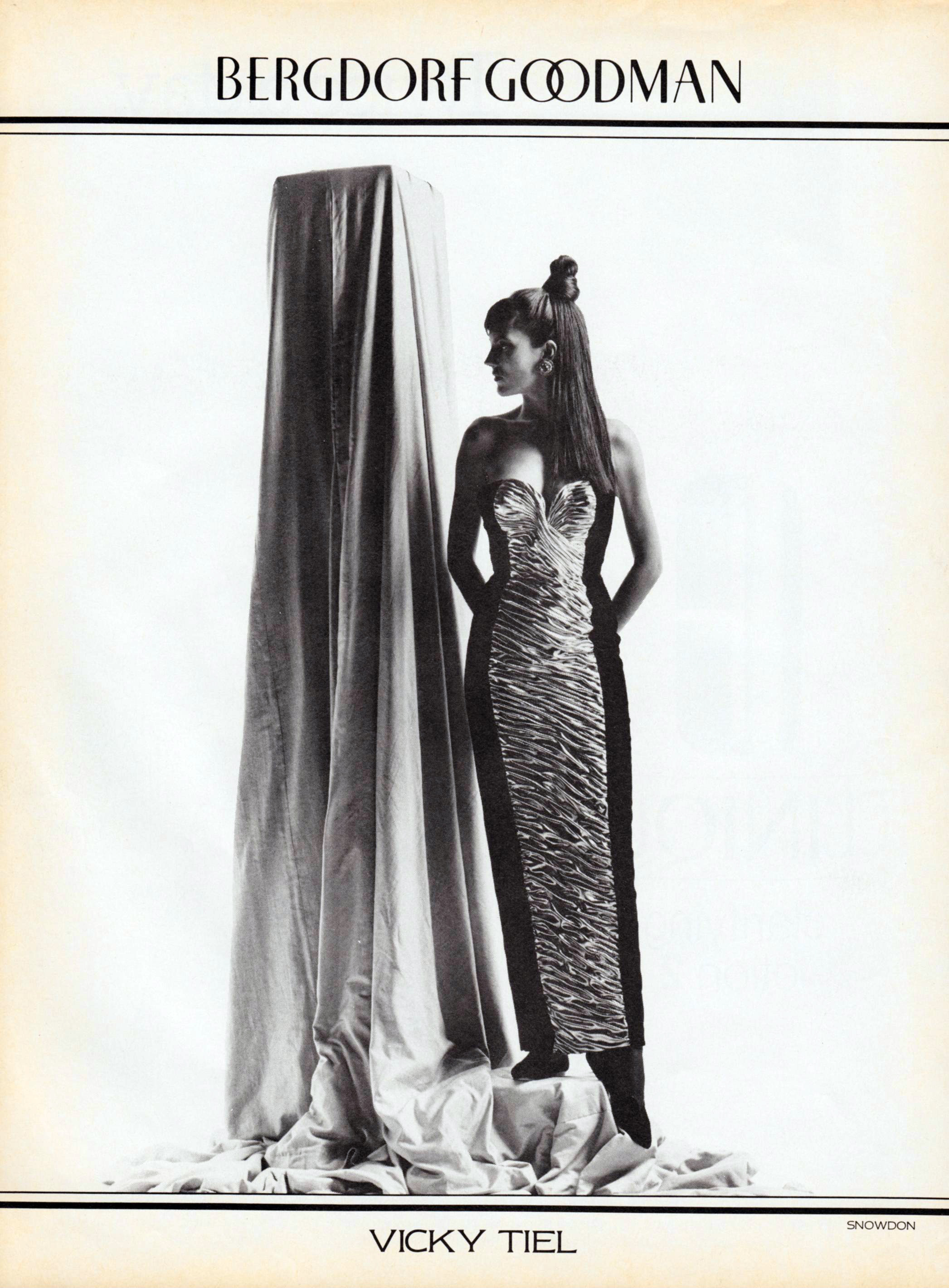 An ad for Vicky Tiel's couture salon at Bergdorf Goodman, 1986.