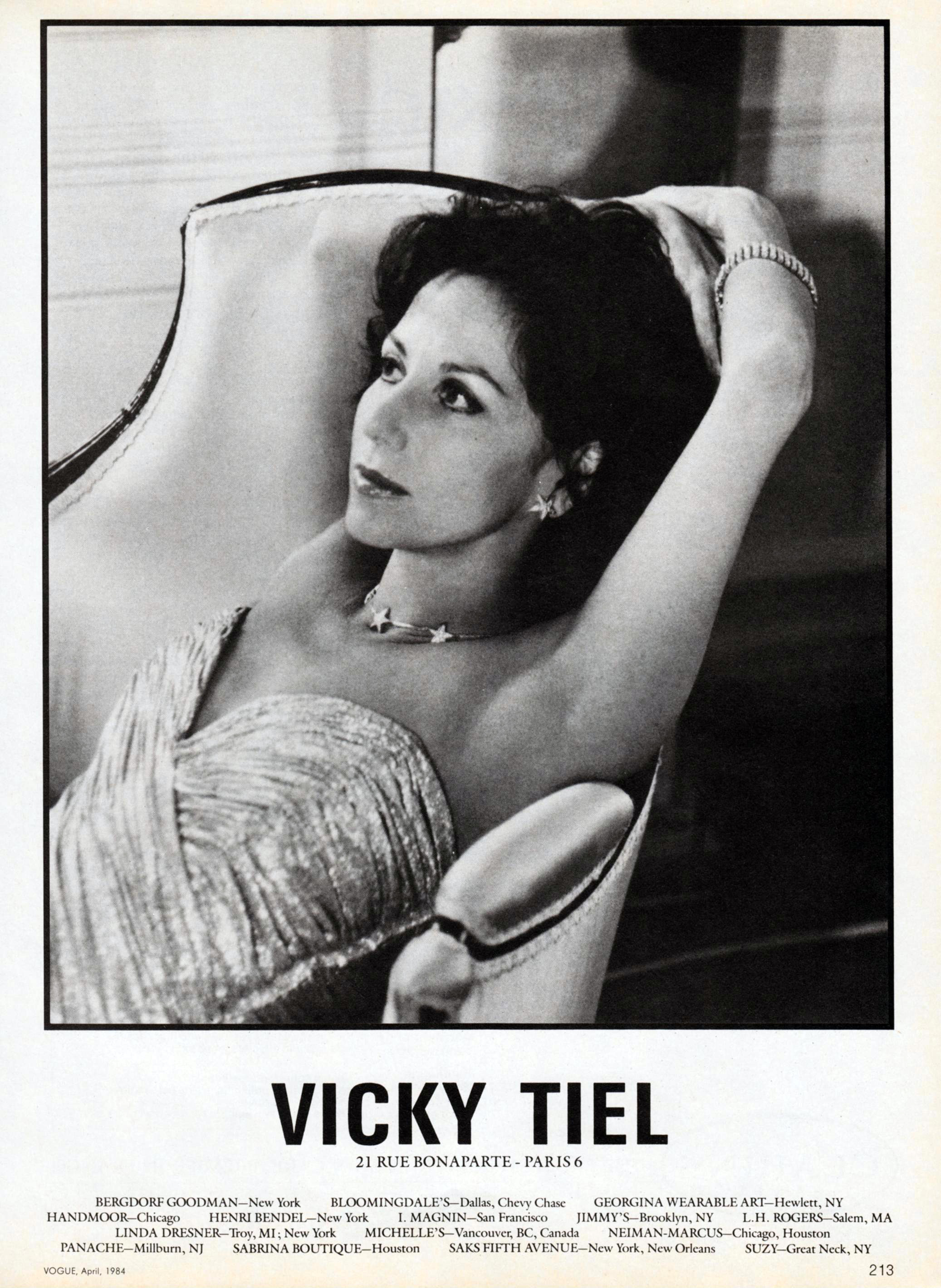 "Tiel modeling one of her ""Mummy dresses"" in a 1984 ad."
