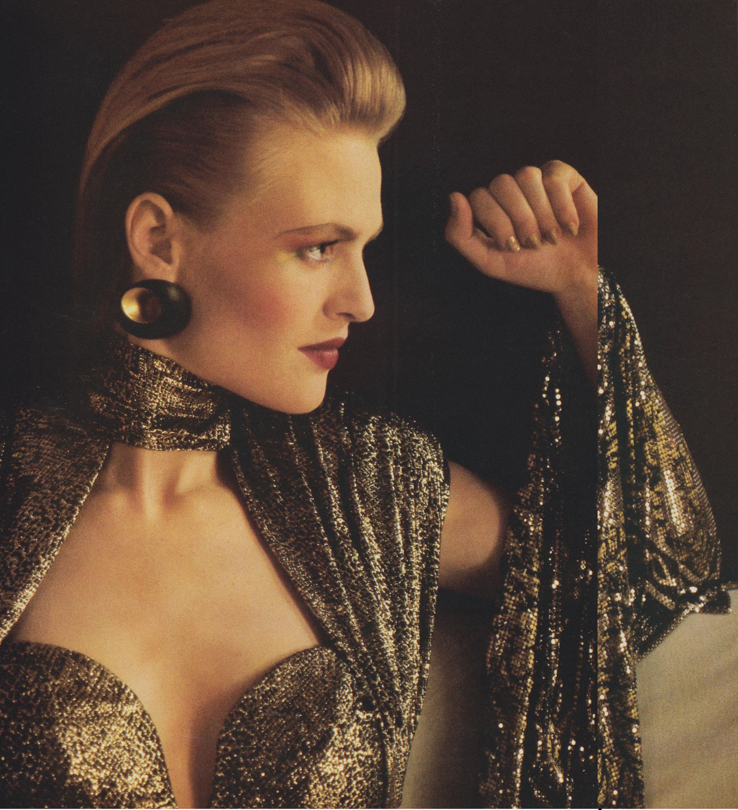 Serpent-print gold lamé photographed by Sheila Metzner for Vogue, September 1985.