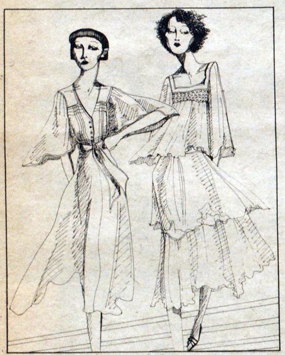 Two designs by Vicky Tiel that were huge hits with American boutiques including Giorgio Beverly Hills and Bendel's, December 1974.