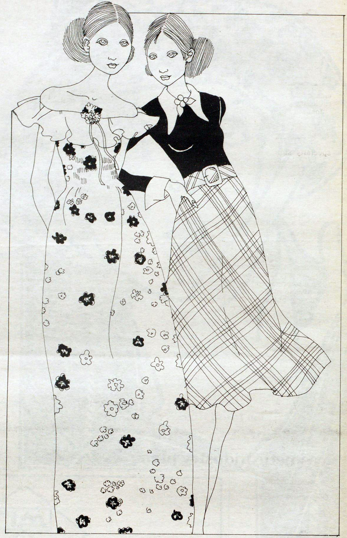 Two designs by Vicky Tiel for spring 1972.