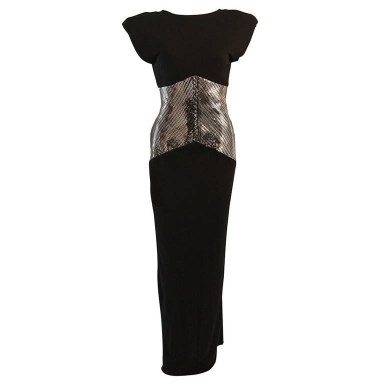 Ravishing Vicky Tiel Black Futurism Gown with Metallic Detail $2,295