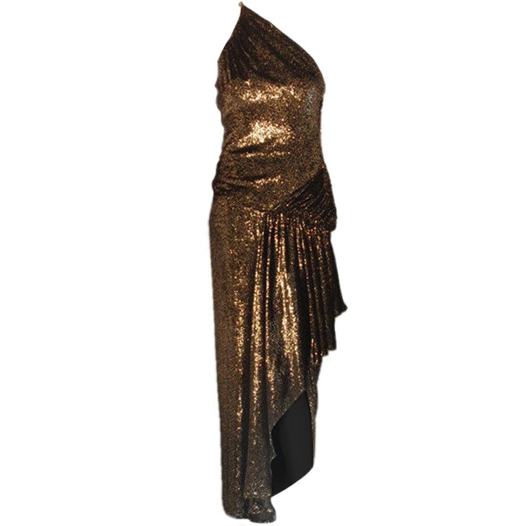 Vicky Tiel Black and Gold One Shoulder Velvet Gown with High Low Hem, C. 1980's