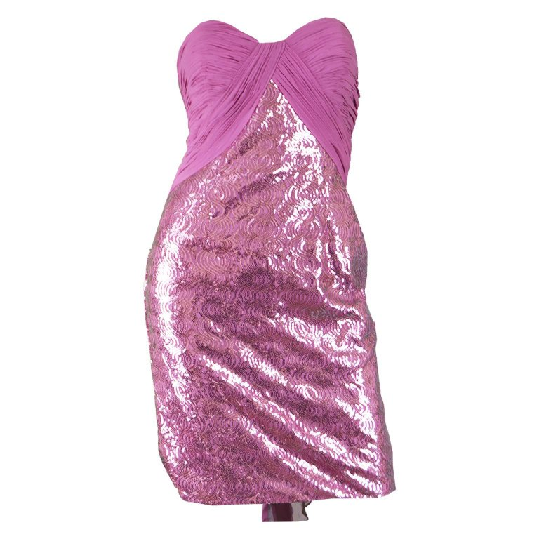 Vicky Tiel Pink Sequin & Ruched Silk Chiffon Evening Mini Party Dress $354.45