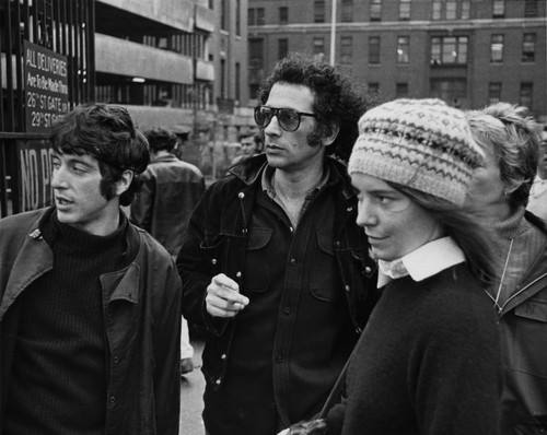 Al Pacino, Jerry Schatzberg and Kitty Winn on the set of 'The Panic in Needle Park,' 1970.